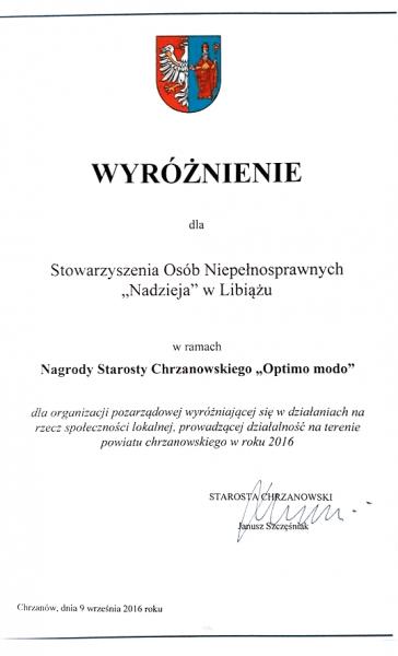 """""""Optimo Modo"""" - Nagroda Starosty Chrzanowskiego dla organizacji pozarządowej"""